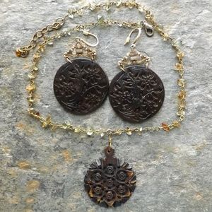 Jewelry - Wood carved necklace with earrings to match